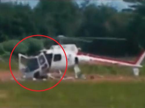 Incredibile, elicottero cade a pezzi durante il decollo